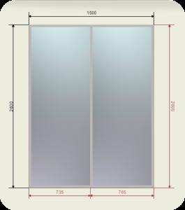 шкаф купе ширина 1500 мм двери 2 зеркала графит