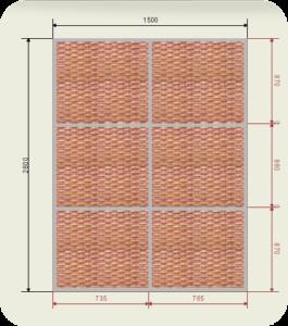 шкаф купе ширина 1500 мм двери ротанг (2 двери)