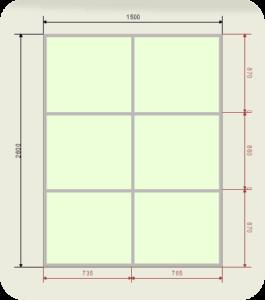 шкаф купе ширина 1500 мм двери сатинат (2 двери)