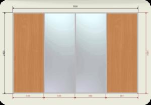 цена на встроенный шкаф купе 3,5 метра двери купе 2 зеркала + 2 ЛДСП