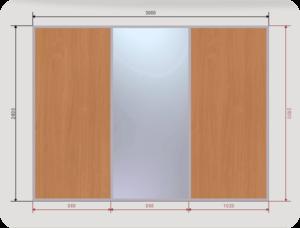 встроенный шкаф купе шириной 3000 мм двери 2 ЛДСП + 1 зеркал0