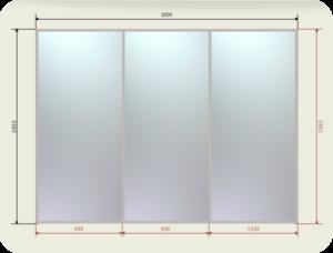 встроенный шкаф купе шириной 3000 мм двери зеркала