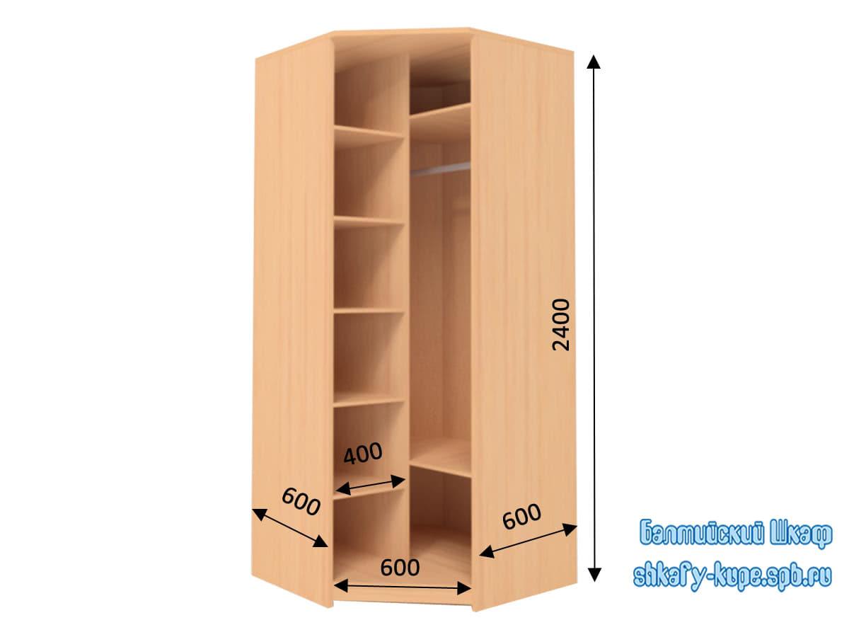 Недорогой угловой шкаф с распашной дверью системы pivot балт.