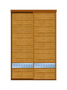 Двери для шкафов купе бамбук + пескоструйный рисунок на зеркале