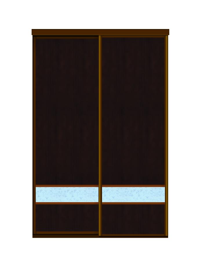 Двери для шкафов купе ЛДСП венге + Декоративное стекло