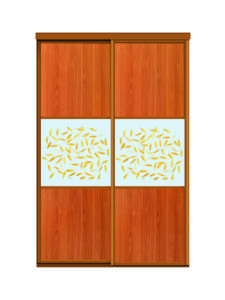 Двери для шкафов купе ЛДСП вишня + фотопечать на стекле