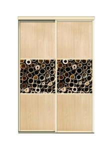 Двери для шкафов купе ЛДСП Дуб + фотопечать на стекле