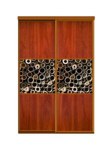 Двери для шкафов купе ЛДСП орех + фотопечать на стекле