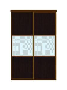 Двери для шкафов купе ЛДСП венге + пескоструйный рисунок на зеркале