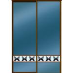 Двери для шкафов купе зеркало графит + вставка - фотопечать на стекле