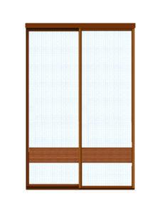 Двери купе декоративное зеркало + бамбук