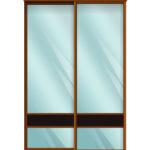 Двери для шкафов купе зеркало + вставка - ЛДСП Венге