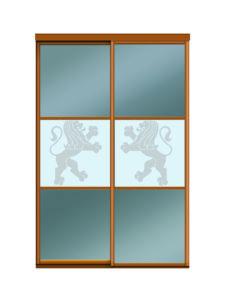 Двери для шкафов купе зеркало бронза + пескоструйный рисунок