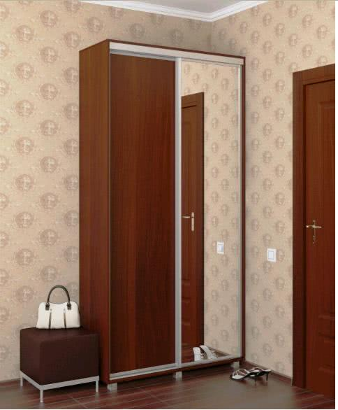 Недорогой 2-х дверный шкаф купе с одним зеркалом