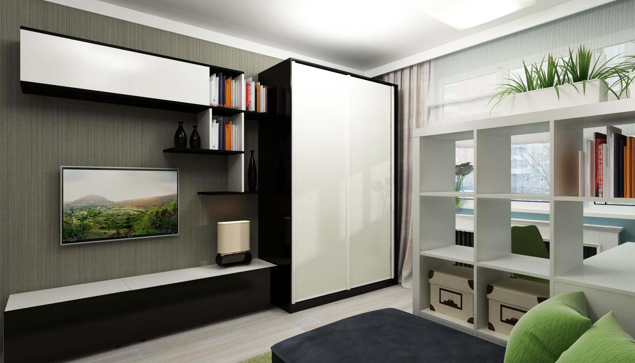 Интерьер гостиной с чёрно-белым шкафом купе