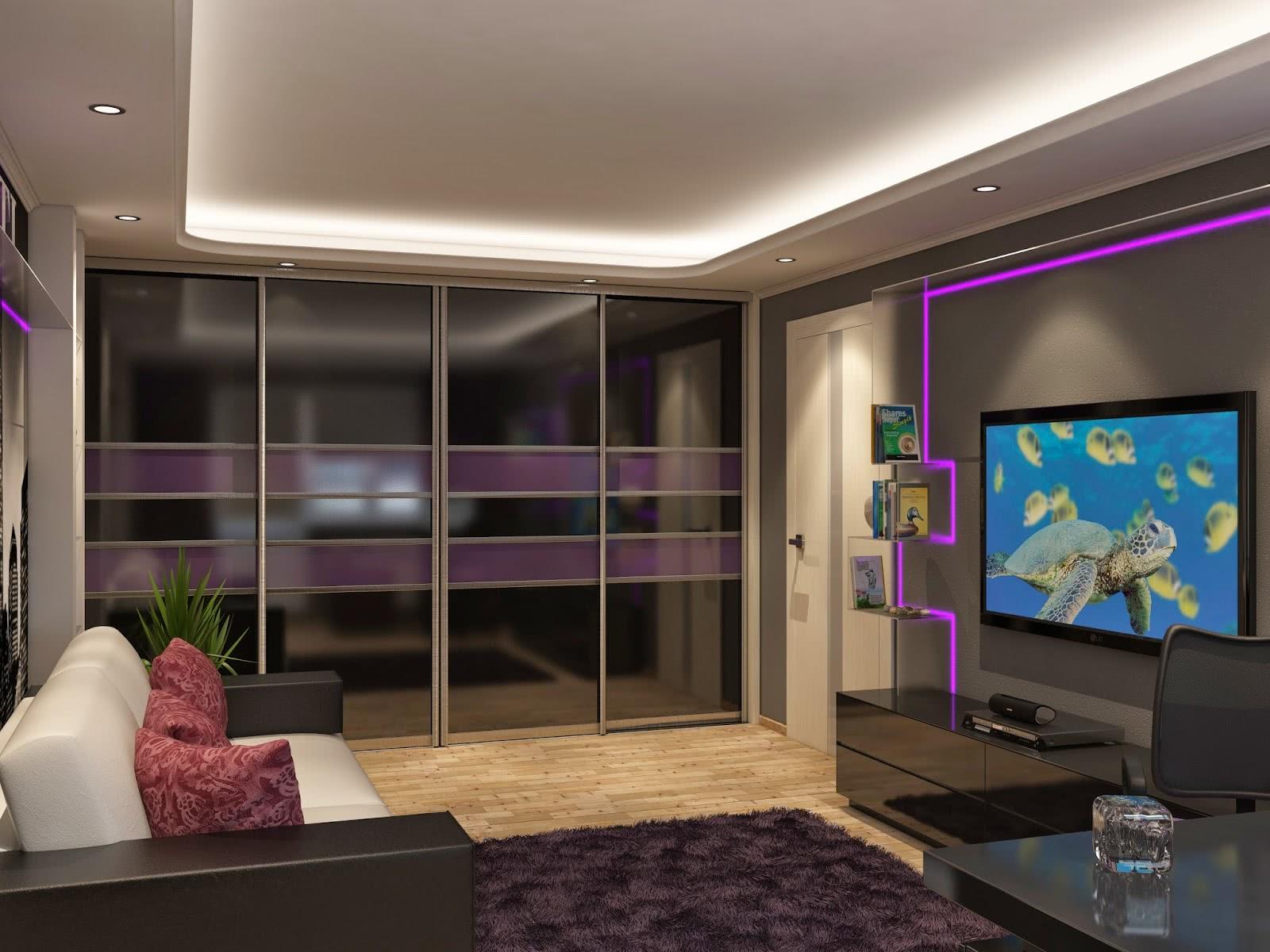 Дизайн зала со шкафом купе