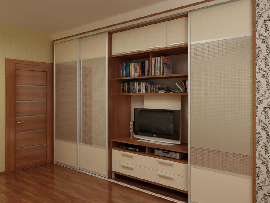 Шкаф купе для гостиной с телевизором