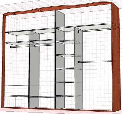 Встроенный шкаф купе в прихожую пример внутреннего наполнени.