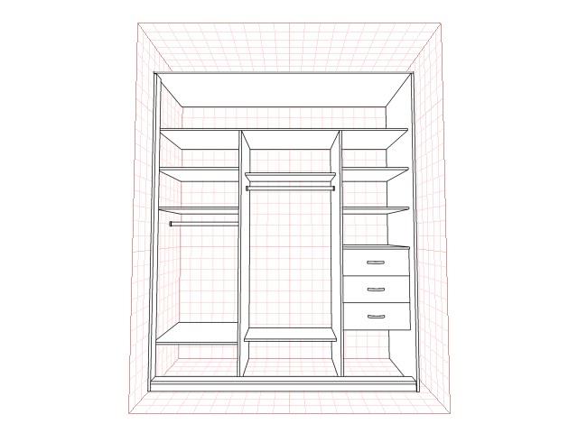 Встроенный шкаф купе в нишу прихожей пример внутреннего наполнения