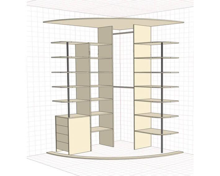 Радиусные угловые шкафы купе в спальню внутреннее наполнение