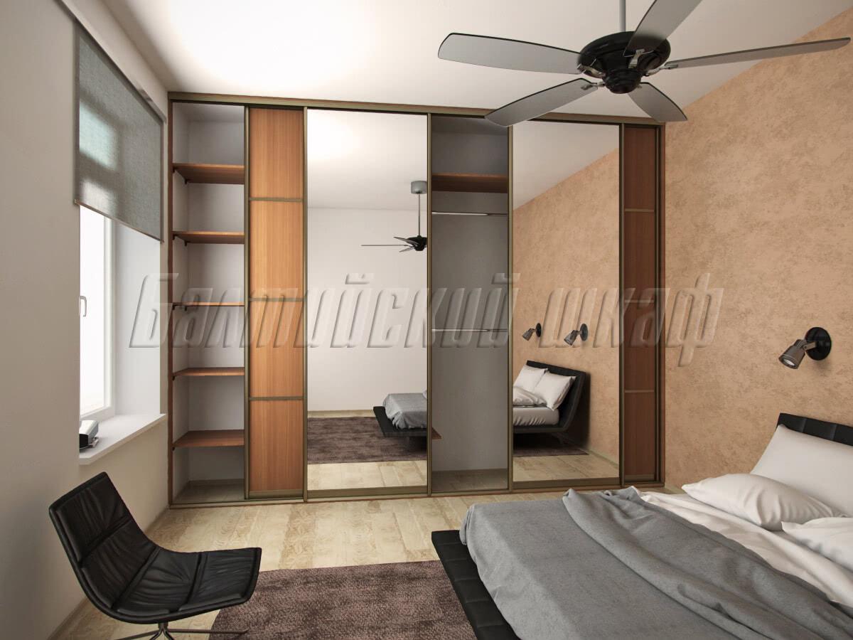 встроенный шкаф купе во всю стену для спальни