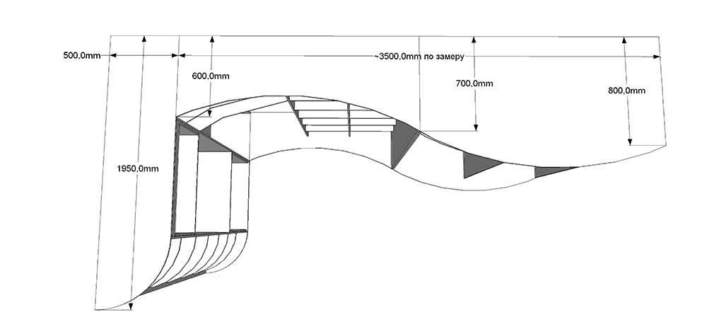 Большой угловой радиусный шкаф купе  шириной 4 метра с комодом и распашными антресолями