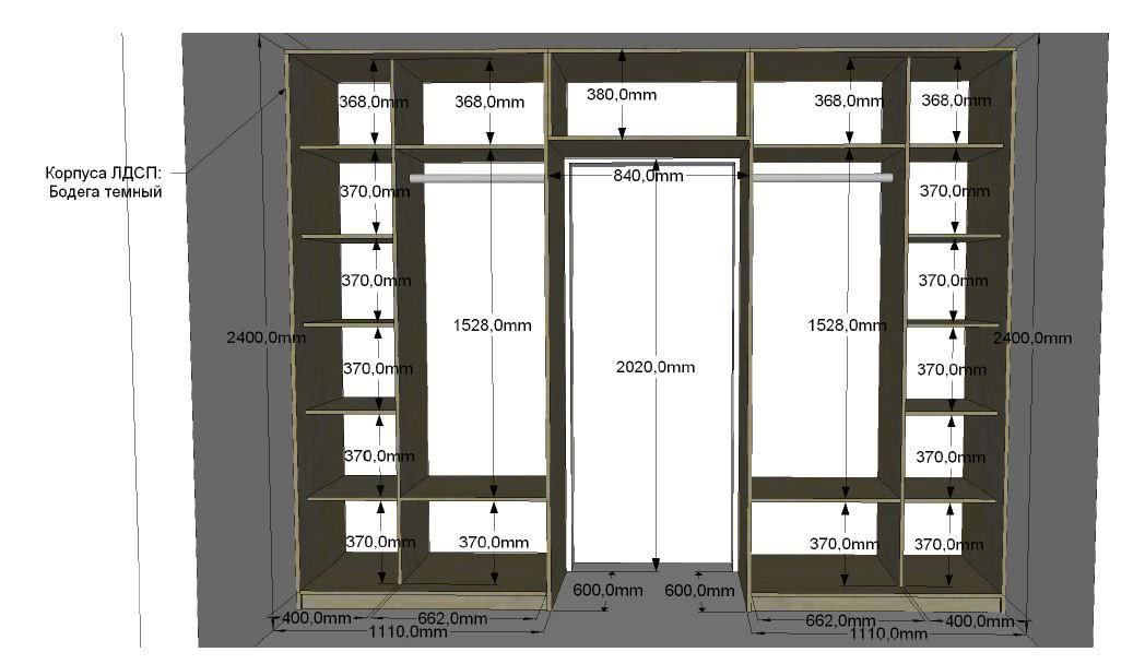 Корпусные шкафы вокруг дверного проема с антресолью в комнату