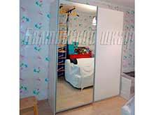Белый шкаф купе Марбелла с зеркалом для детской комнаты