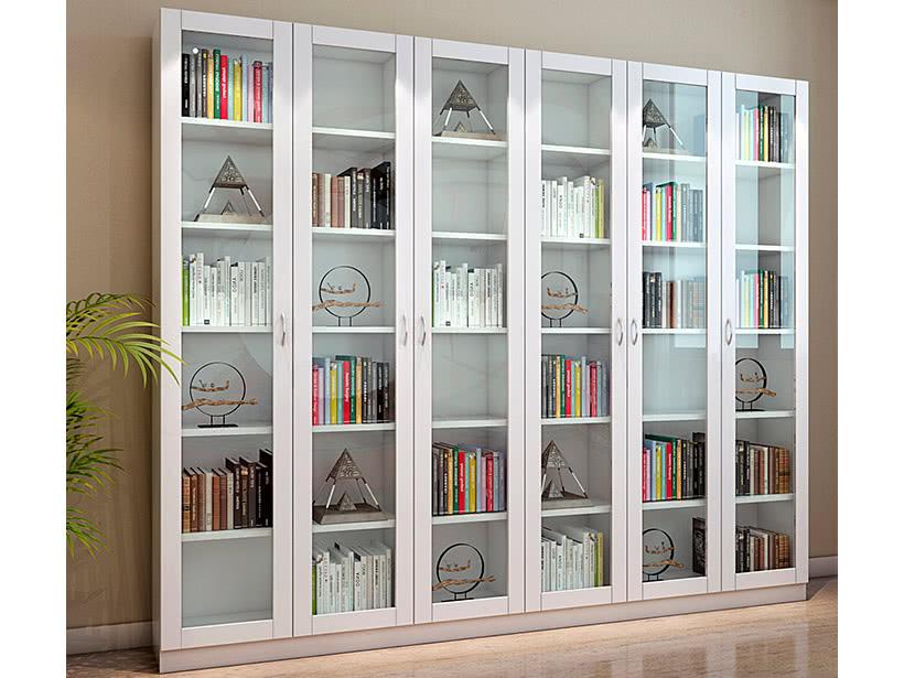 Белый книжный шкаф со стеклянными распашными дверьми
