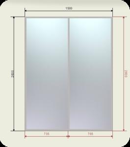 шкаф купе ширина 1500 мм двери 2 зеркала