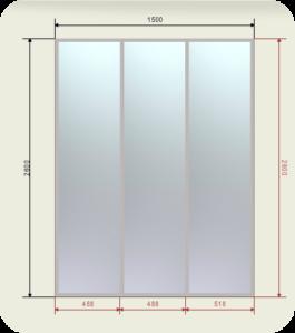 шкаф купе ширина 1500 мм двери 3 зеркала