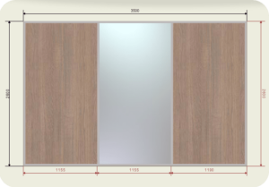 цена на встроенный шкаф купе 3,5 метра двери купе 1 зеркала + 2 ЛДСП