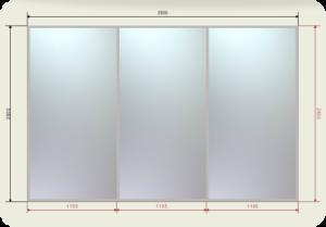 цена на встроенный шкаф купе 3,5 метра двери купе 3 зеркала