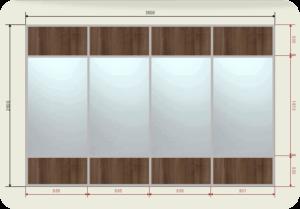 цена на встроенный шкаф купе 3,5 метра зеркало + ЛДСП (4 двери)