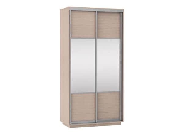 Шкаф купе эконом шириной 1 метр ясень шимо  с зеркалом