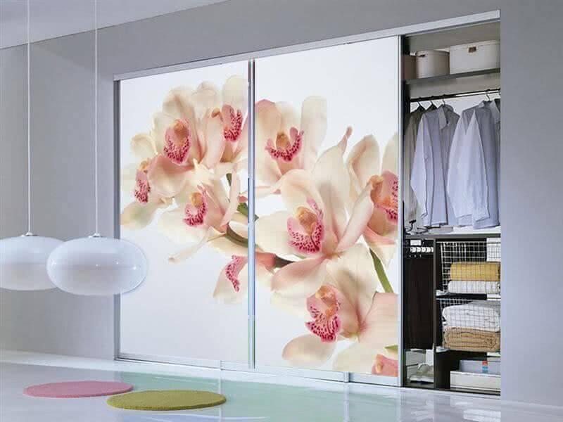 Шкаф купе с фотопечатью цветов