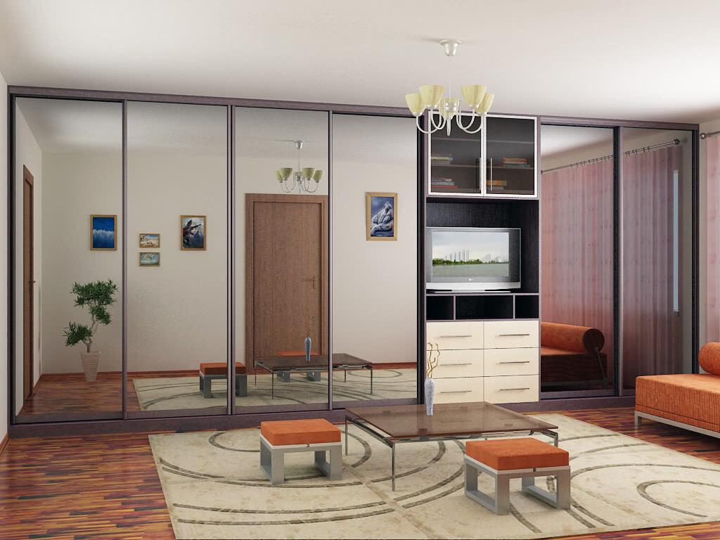 Большой встроенный шкаф-купе в гостиную с зеркалом