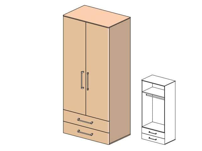 Платяной шкаф с выдвижными ящиками