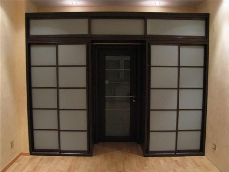Встроенный шкаф купе вокруг двери в спальне
