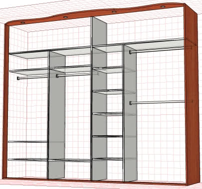 Встроенный большой шкаф купе в прихожую пример внутреннего наполнения