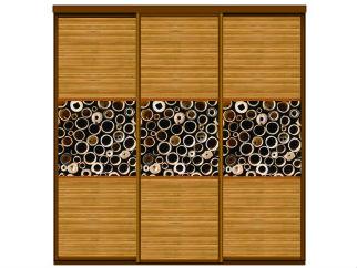 Три двери купе деленные на 3 равные - бамбук с фотопечатью