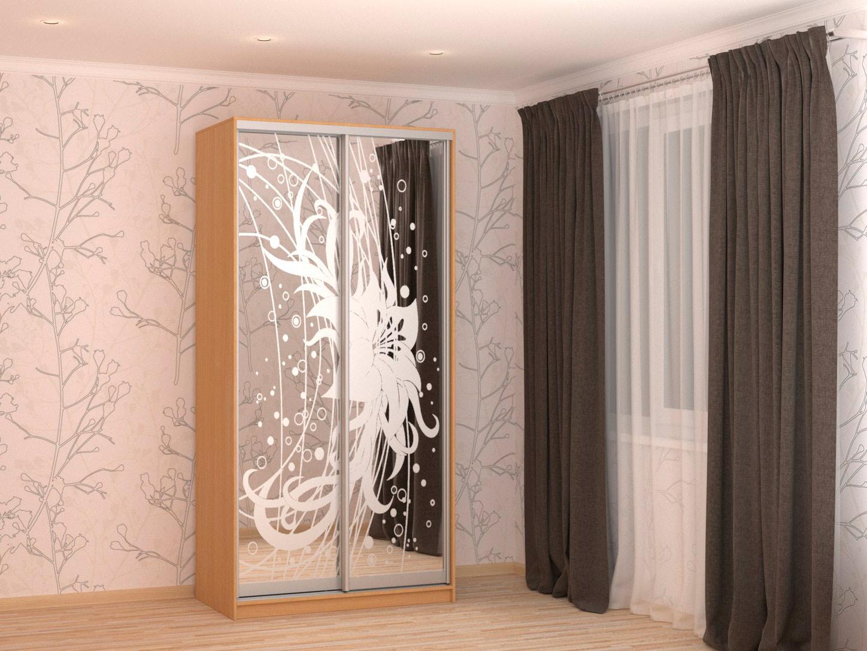 Шкаф-купе шириной 1,2 метра, цвет БУК, фасад пескоструйный рисунок