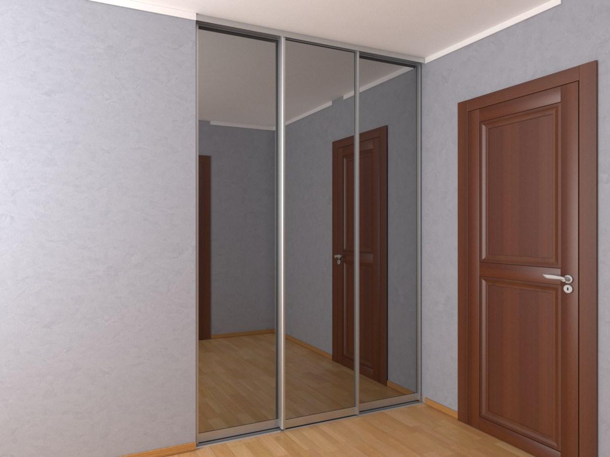 Встроенный трехдверный шкаф-купе с зеркалом графит шириной 1,8 метра