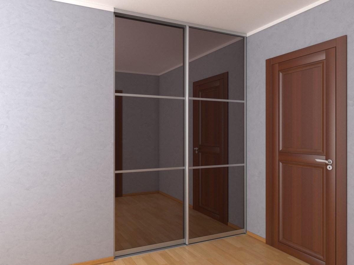 Встроенный шкаф-купе с зеркалом бронза шириной 1,8 метра