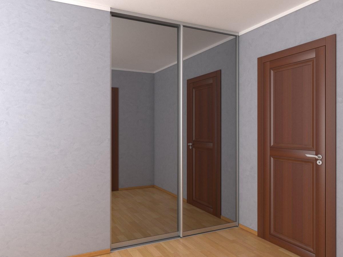 Двухдверный встроенный шкаф-купе с зеркалом графит 1,8 метра