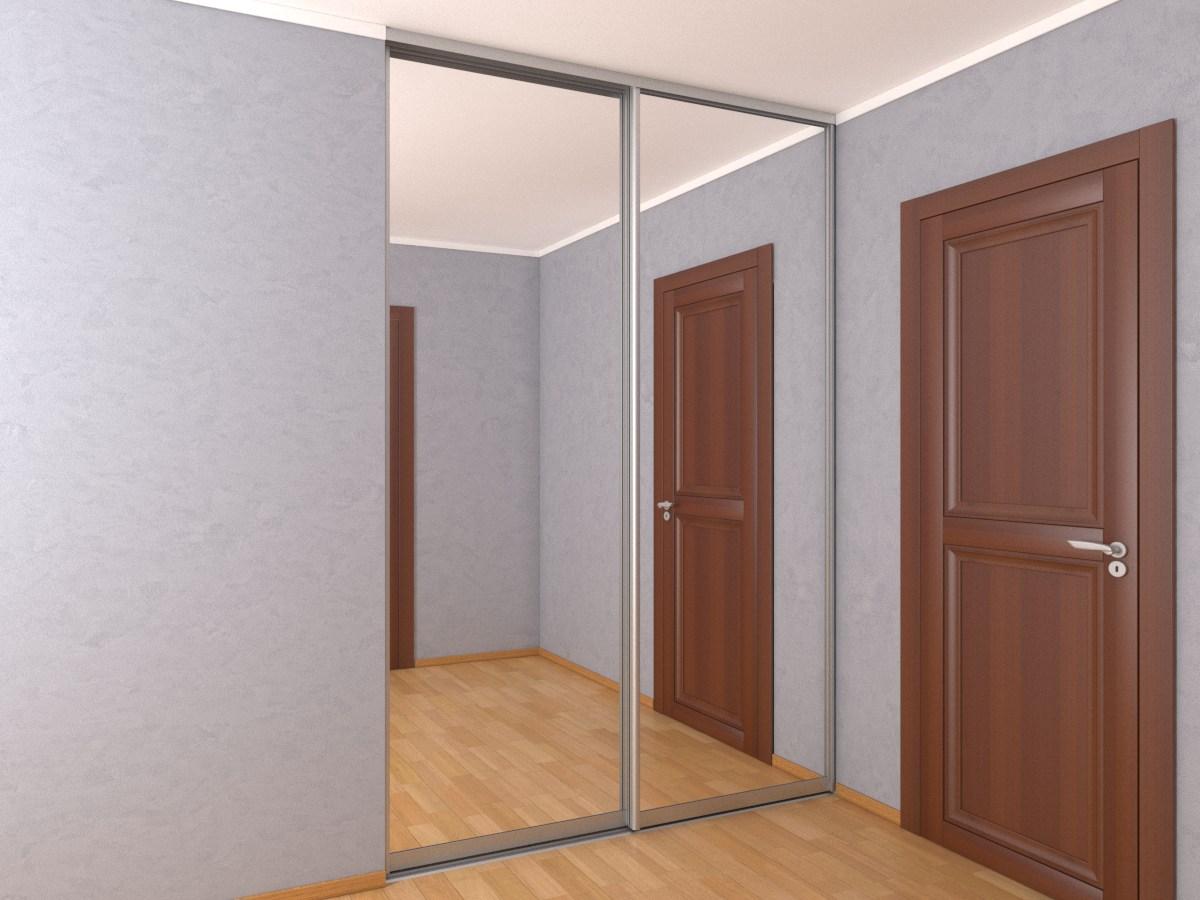 Встроенный в нишу зеркальный шкаф-купе шириной 1,8 метра