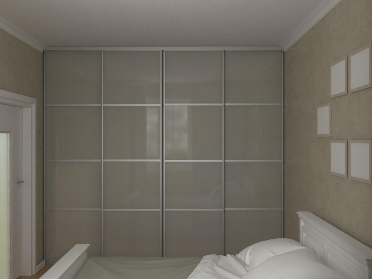 Матовый встроенный в стену четырехдверный шкаф-купе