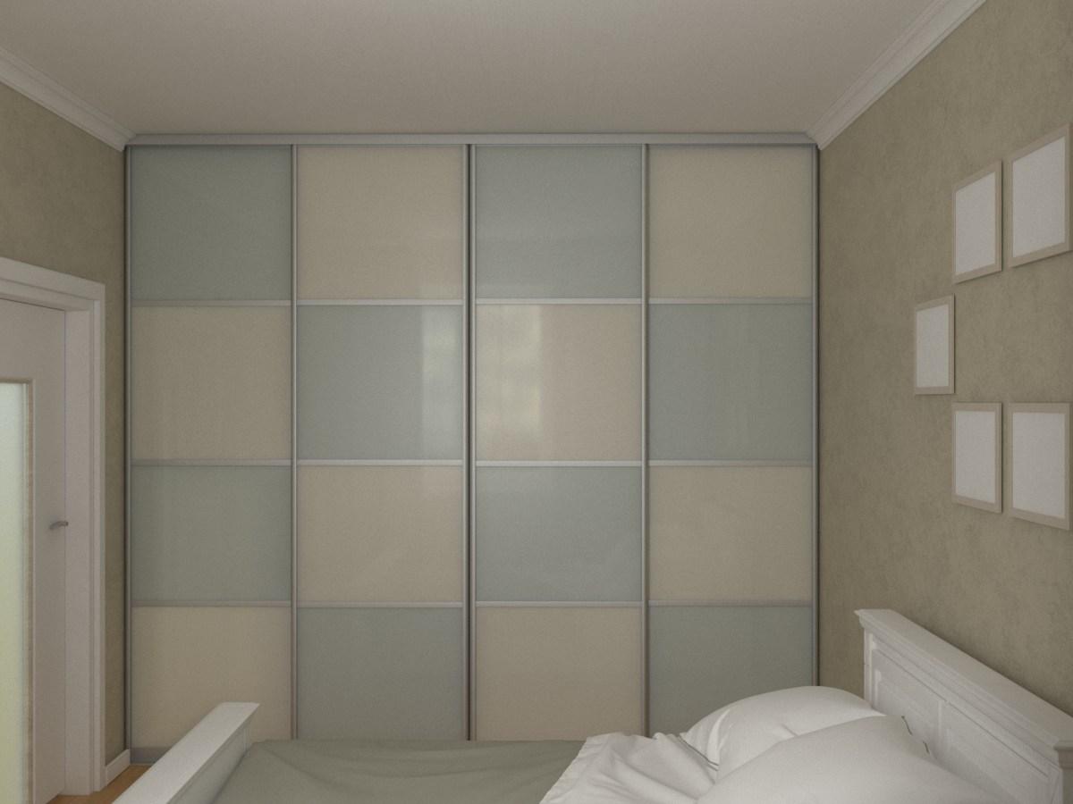 Встроенный во всю стену шкаф-купе с пленкой ORACAL шириной 2,8 метра
