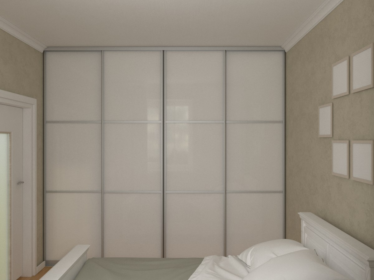 Белый встроенный в стену шириной 2,8 м шкаф-купе