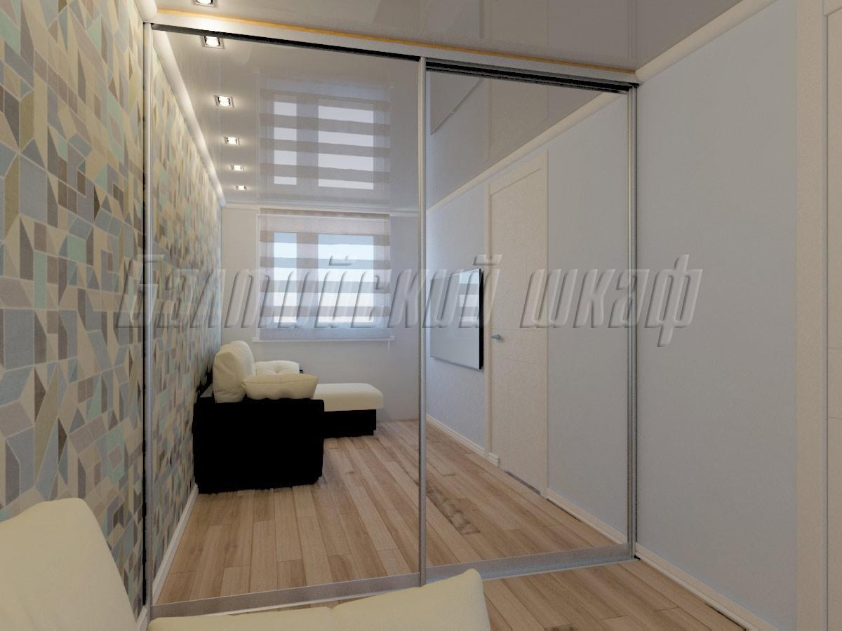 Встроенный гардероб в комнату с зеркалом